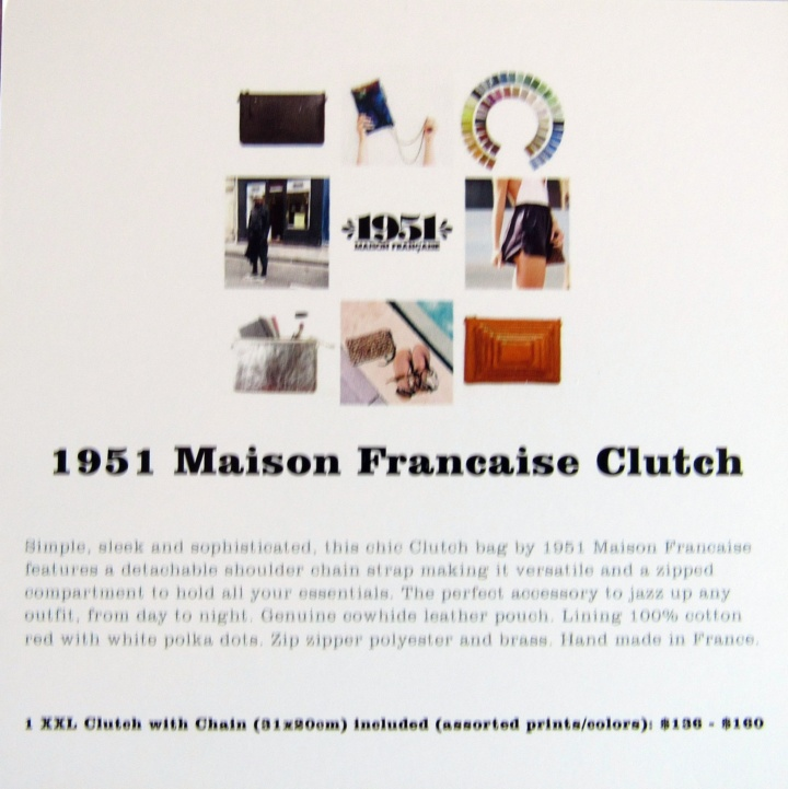 1951 Maison Francaise Clutch Information card