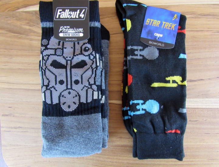 Exclusive Fallout 4 gas Mask Socks and Exclusive StarTrek Enterprise Socks