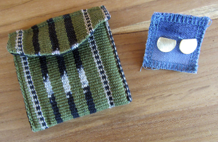 Handwoven Pouch and Crescent Stud Earrings
