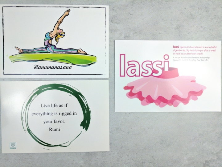 Buddhibox yoga subscription box review coupon january 2017 every box comes with three cards a quote card with a list of items on the backside a yoga pose card hanumanasana or the full split something im still fandeluxe Gallery