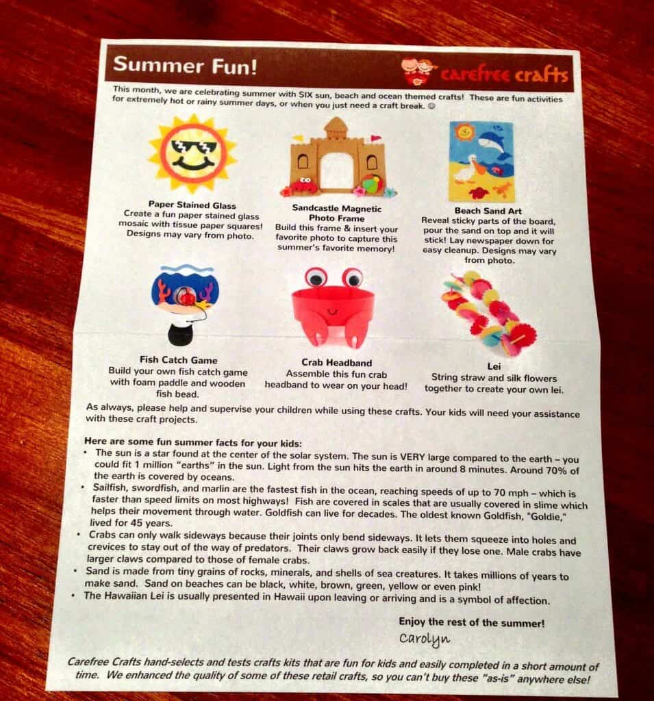 carefree crafts information card