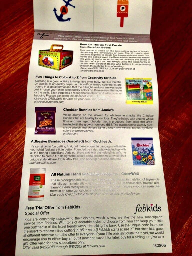 citrus lane august review toddler information card