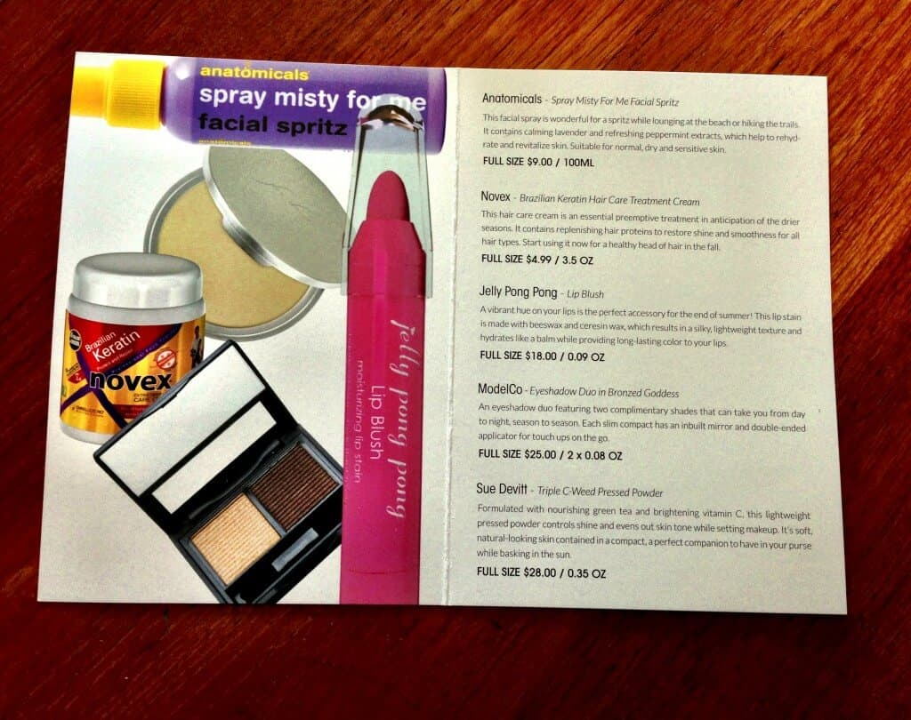 glossybox august information card