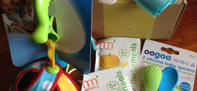 July 2014 Citrus Lane Baby Subscription Box Review  + $20 off coupon!