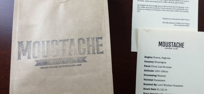 January 2015 Moustache Coffee Club Review + Free Coffee Trial
