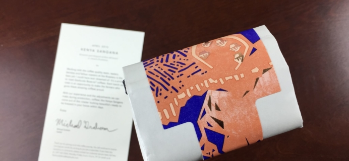 April 2015 Starbucks Reserve Coffee Subscription Box Review