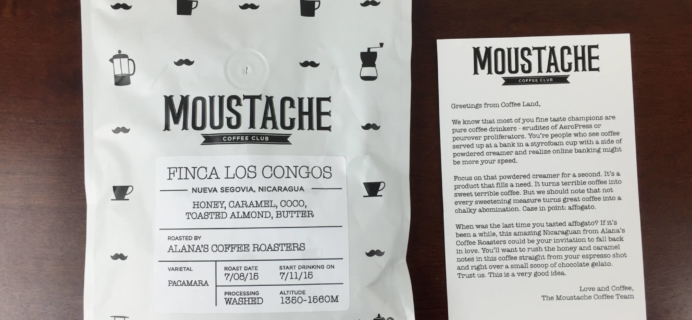 Moustache Coffee Club Subscription Review + Free Trial – July 2015