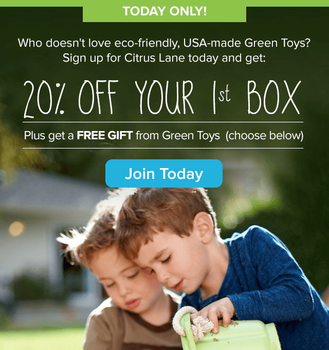 TODAY ONLY! Citrus Lane 20% Off & Free Green Toys Truck or Play Dishes!