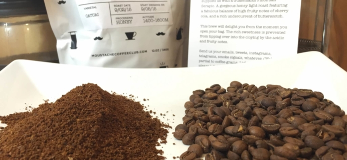 September 2015 Moustache Coffee Club Subscription Review + Free Trial Bag