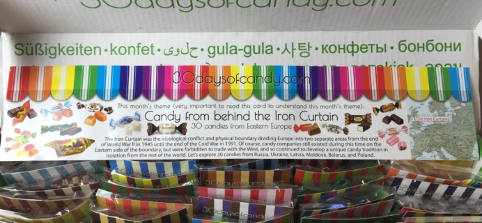 "30 Days of Candy Subscription Box Review + Coupon – September 2015 ""Candy from behind the Iron Curtain"""
