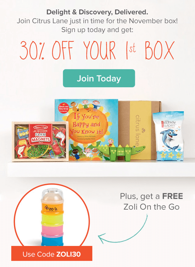 Citrus Lane 30% Off & Free Zoli Snack Cup Coupon Code!