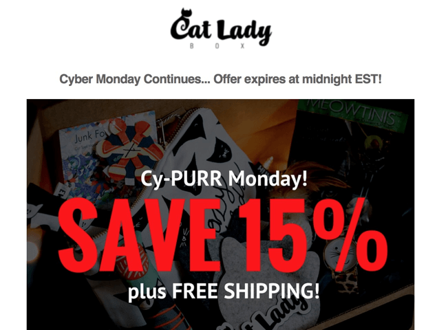 Cat Lady Box Cyber Monday Deal: Save 15% Off Any Length Subscription!