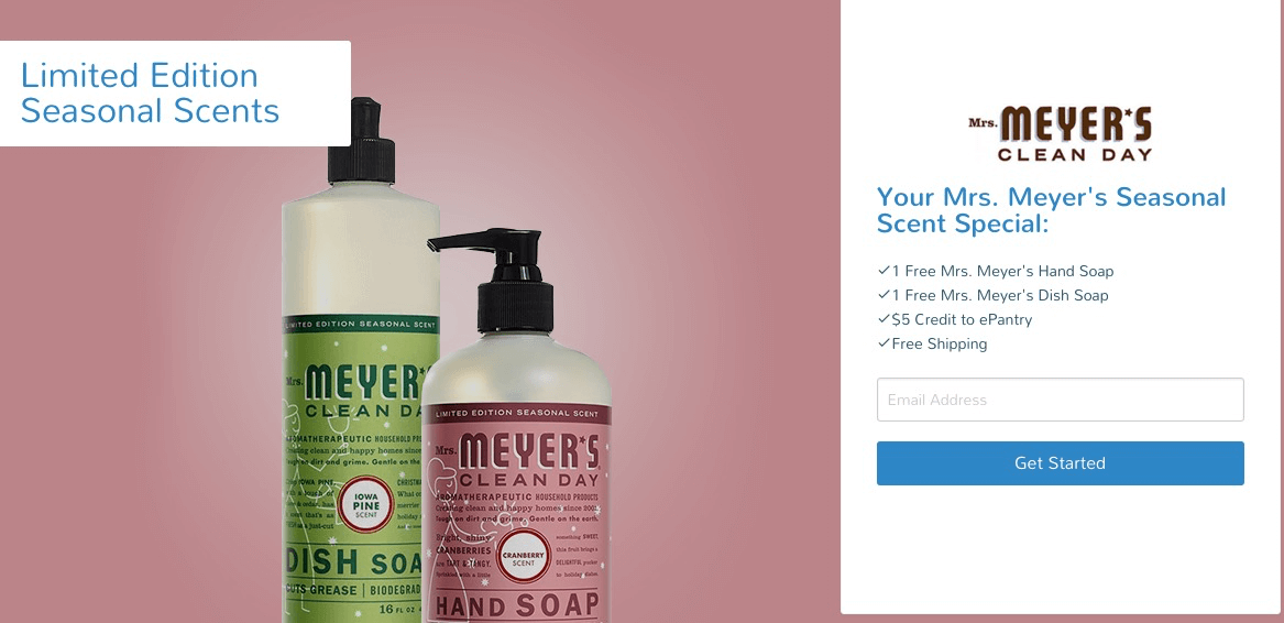 Update to ePantry Deal: Now Two FREE Holiday Scent Mrs. Meyers Items + $5 Credit with Subscription + Free Hand Soap for Existing Customers!