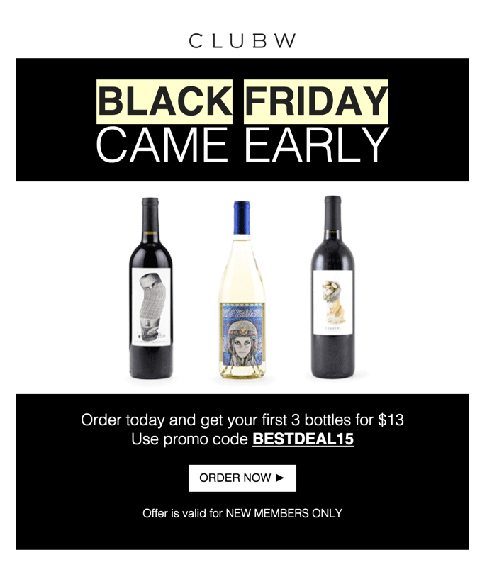 Club W Black Friday Coupon – 3 Bottles for $13!