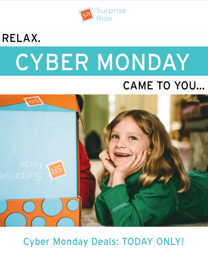 Surprise Ride Cyber Monday Deal: Save $5 Every Month or $50 Off Annual!