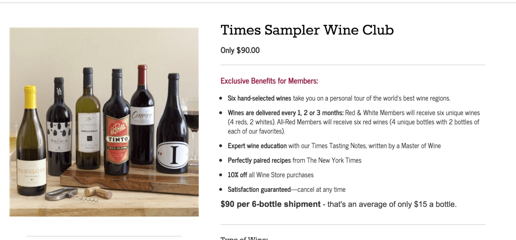 New York Times Wine Club Black Friday Deal: 6 Wines $60 Shipped
