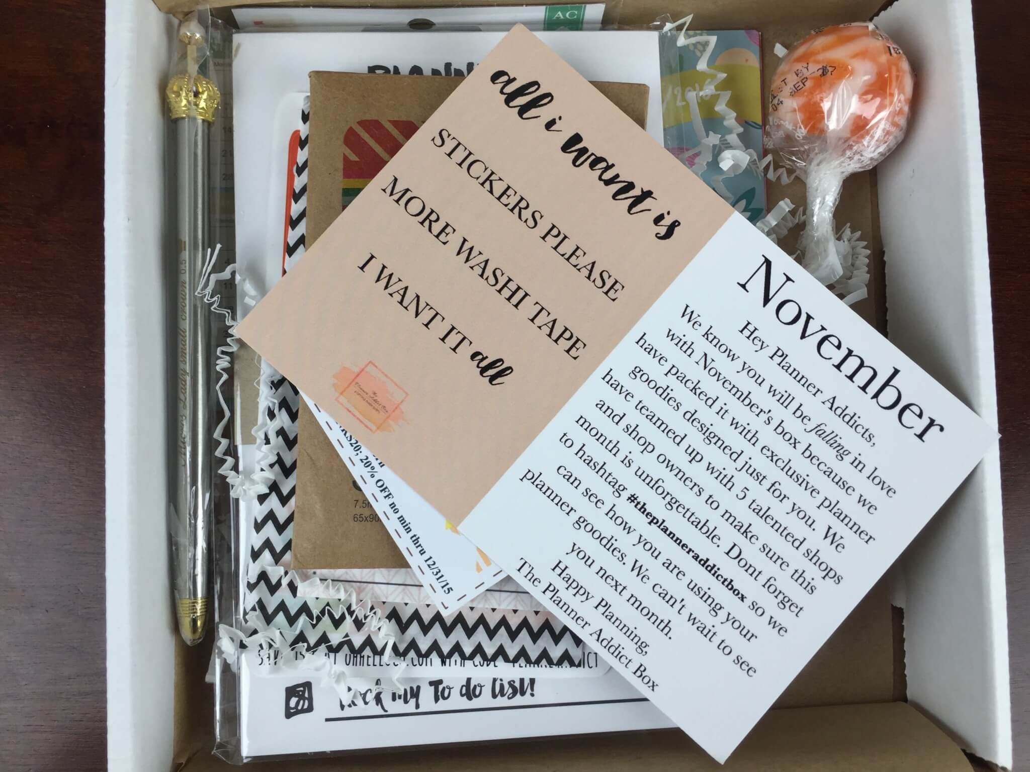 The Planner Addict Box November 2015 Subscription Box Review