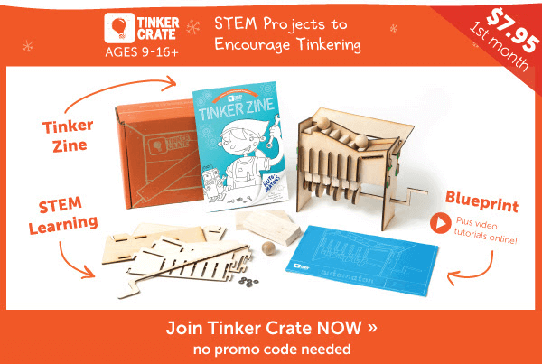 Tinker crate cyber monday deal half off in shop free box offer tinker crates cyber monday 2015 sale is here tinker crate is offering 60 off your first box plus 50 off everything in the tinker crate shop malvernweather Images