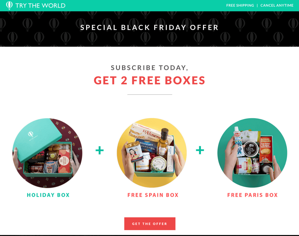7553dc188a Try The World is offering an AMAZING Deal for Black Friday! Start with the  Holiday Box and get the Paris AND Spain boxes for free! Two Free Boxes!