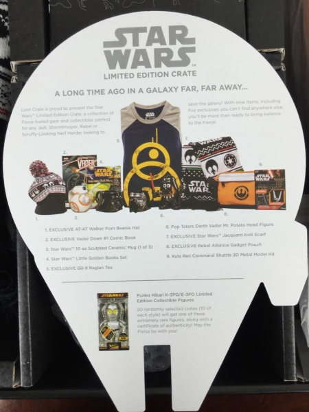 Loot Crate Star Wars Limited Edition Box 2015 info card