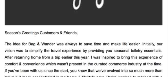 Bag & Wander Subscription Box Closing