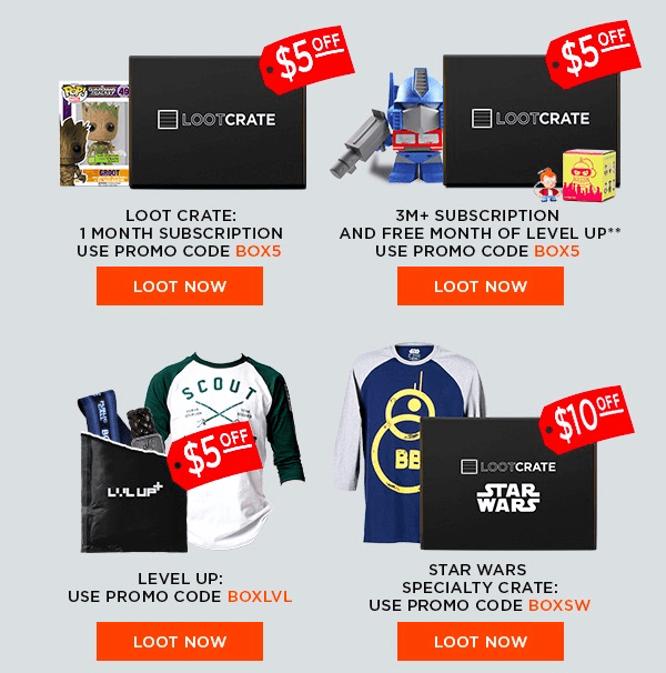 Last Day for Loot Crate Sales: $5 Off Subscription, Free