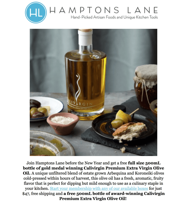 Free EVOO with Hamptons Lane Subscription!