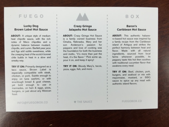 fuego box january 2016 info card