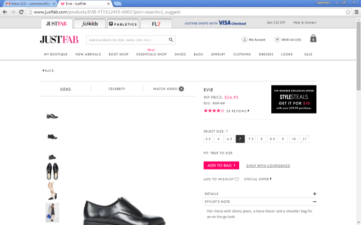 justfab january 2016 screenshot