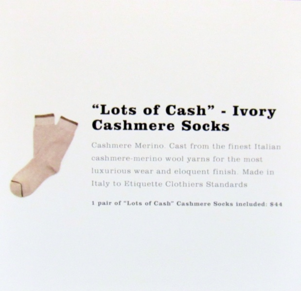"""Lots of Cash"" Ivory Cashmere Socks"