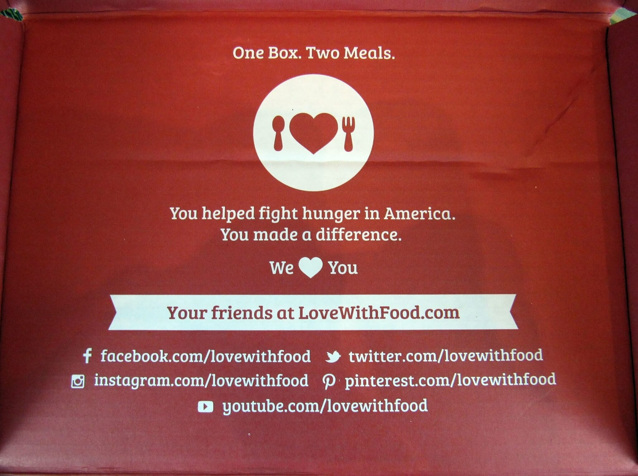 Love with Food donates meals!