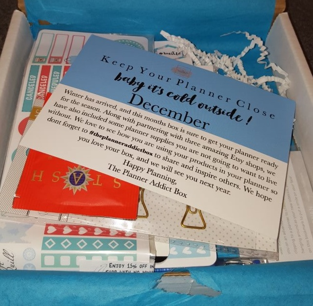 The Planner Addict Box December 2015 Subscription Box Review