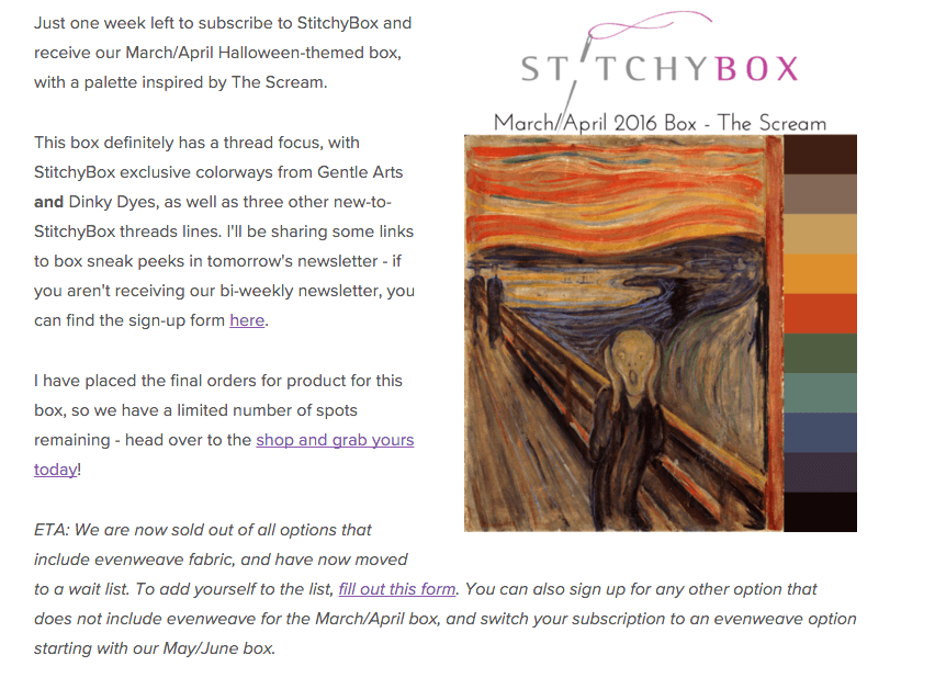 StitchyBox March 2016 Spoilers & Coupon Code