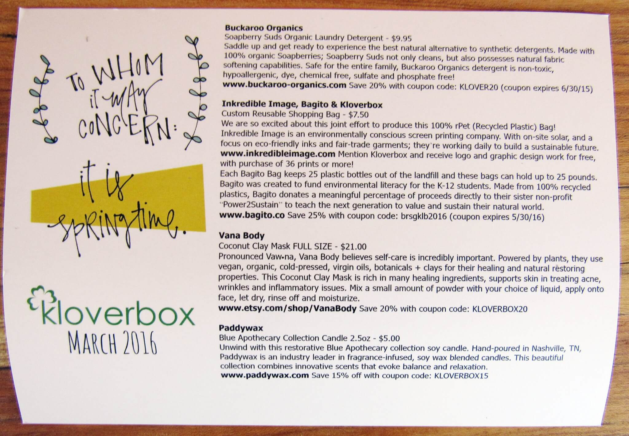 Kloverbox March 2016 Subscription Box Review Amp Coupon