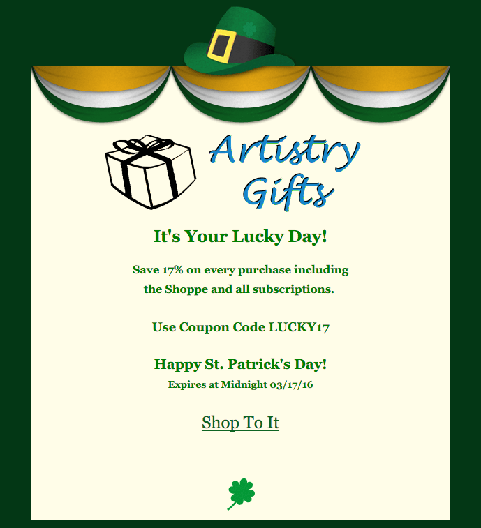 Artistry Gifts 17% Off All Subscriptions – Today Only!