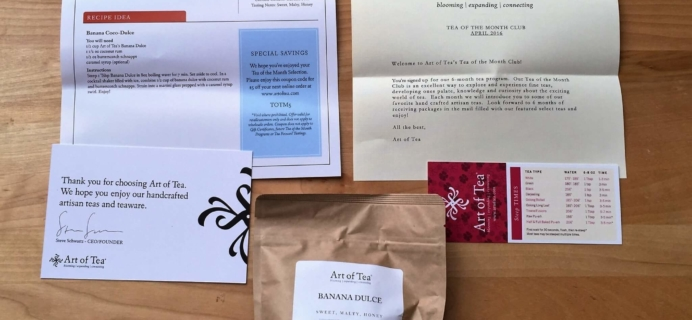 Art of Tea April 2016 Subscription Box Review