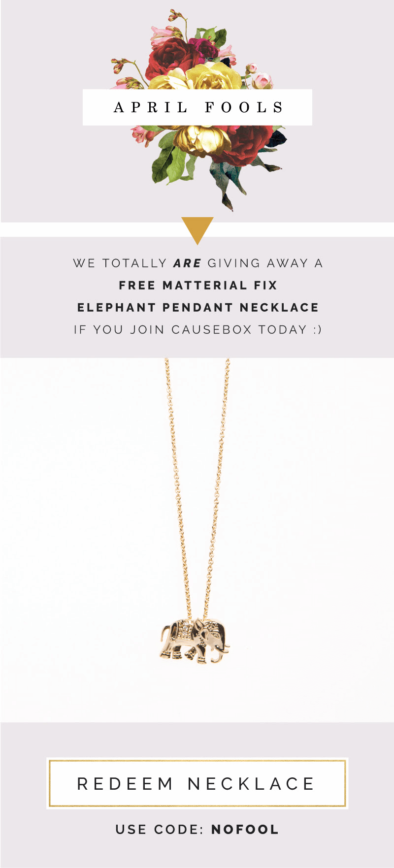 Causebox Free Elephant Necklace with First Box – Today Only