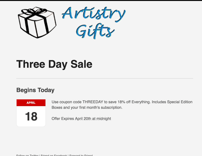 Artistry Gifts 18% Off All Subscriptions – Three days Only!