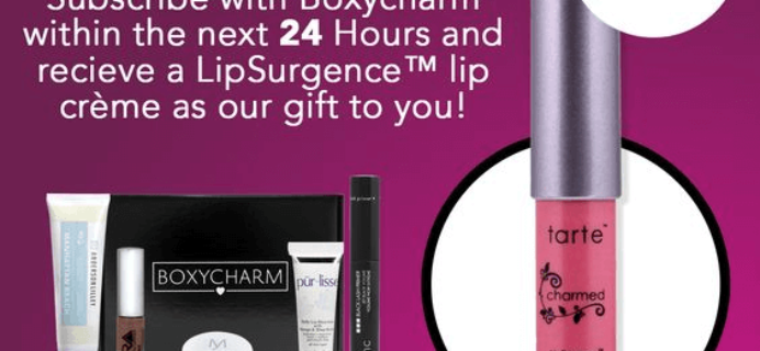 24 Hours ONLY – Free Tarte LipSurgence with Boxycharm Subscription!