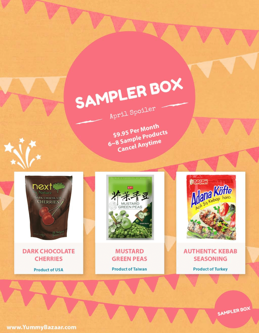 Yummy Bazaar April 2016 Sampler Box Spoilers!