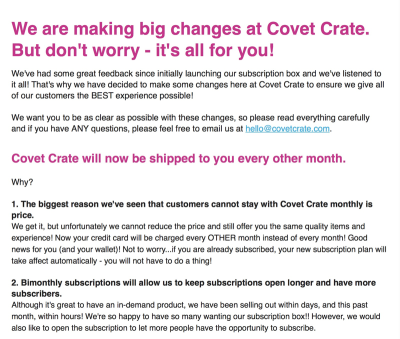 Covet Crate Changes – Now Bimonthly!