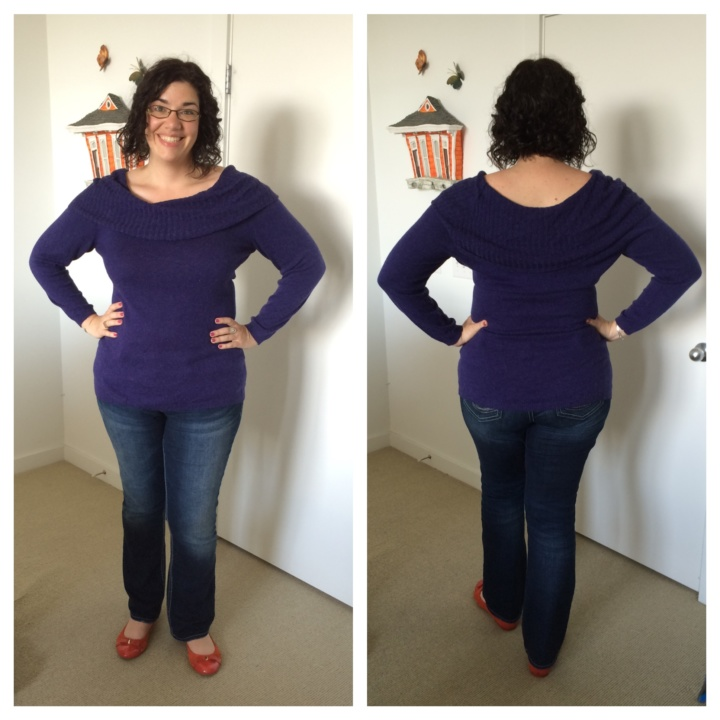 Lima Ribbed Cowl neck Sweater in Indigo 2