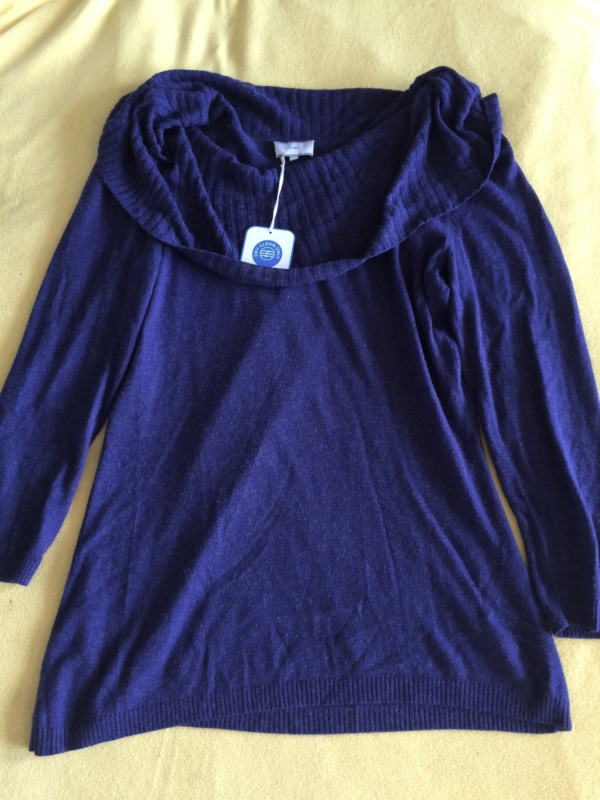 Lima Ribbed Cowl neck Sweater in Indigo