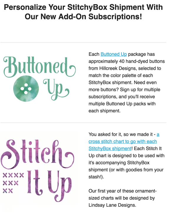 New StitchyBox Subscriptions – Buttons & Charts!