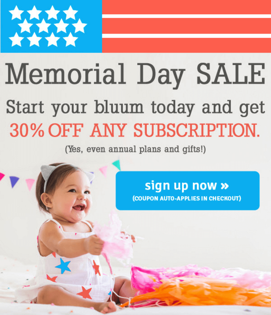 Bluum Memorial Day Coupon – 30% off All Subscriptions!