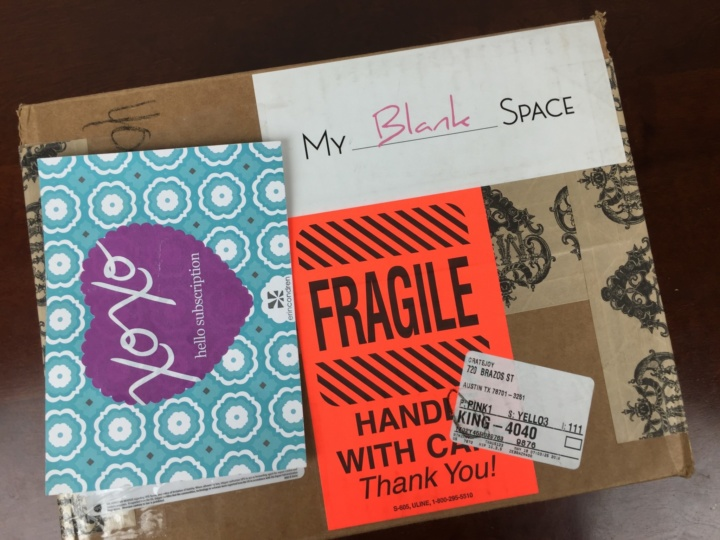 My BLANK Space June 2016 box