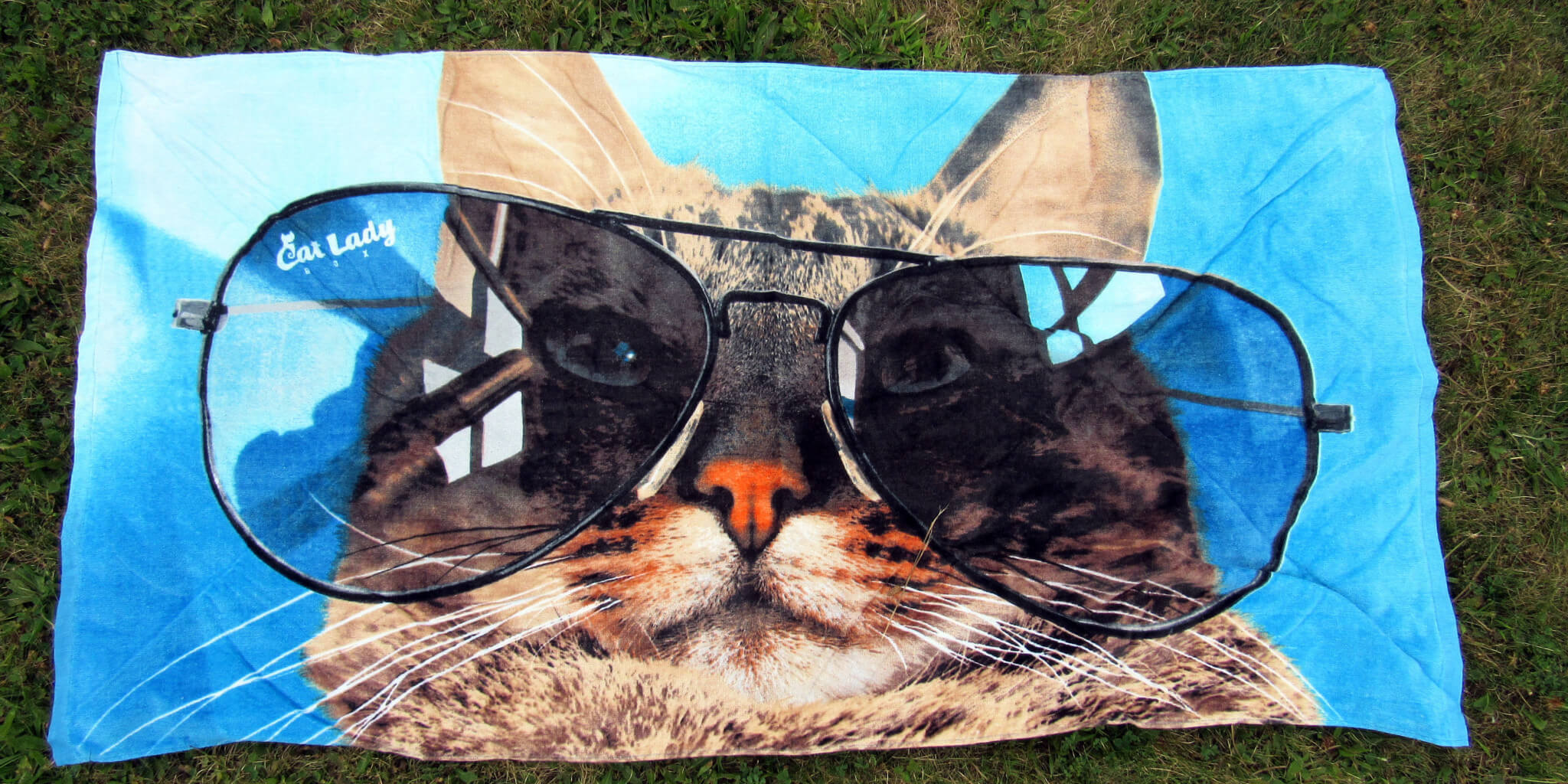 Shady Cat Beach Towel Exclusive by CatLadyBox