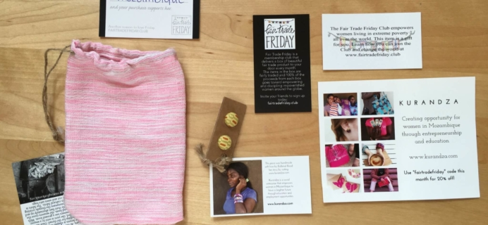 Fair Trade Friday Earring of the Month July 2016 Subscription Box Review