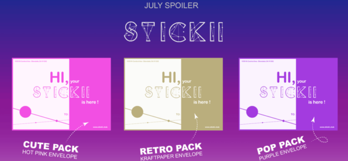 Stickii Sticker Subscription July 2016 Spoilers