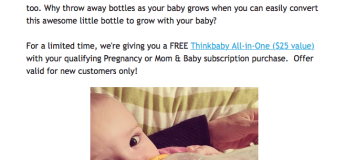 Ecocentric Mom Deal: Free ThinkBaby Bottle With Subscription – $25 Value!